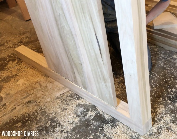 Assemble DIY modern bed head board panel with glue and dowels