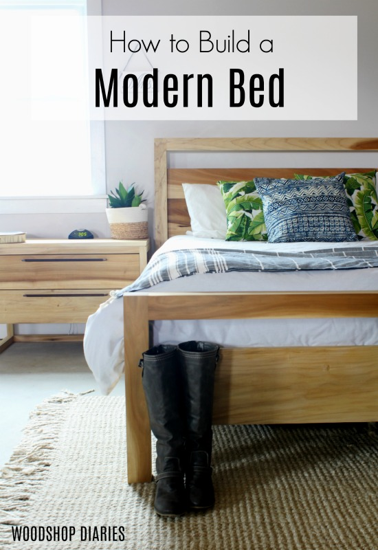 How to build your own DIY Modern Bed--Free plans and video tutorial! #woodworkingtutorial For the contemporary home