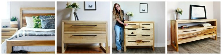Matching modern bedroom set collage with bed, nightstands, and two dresser styles