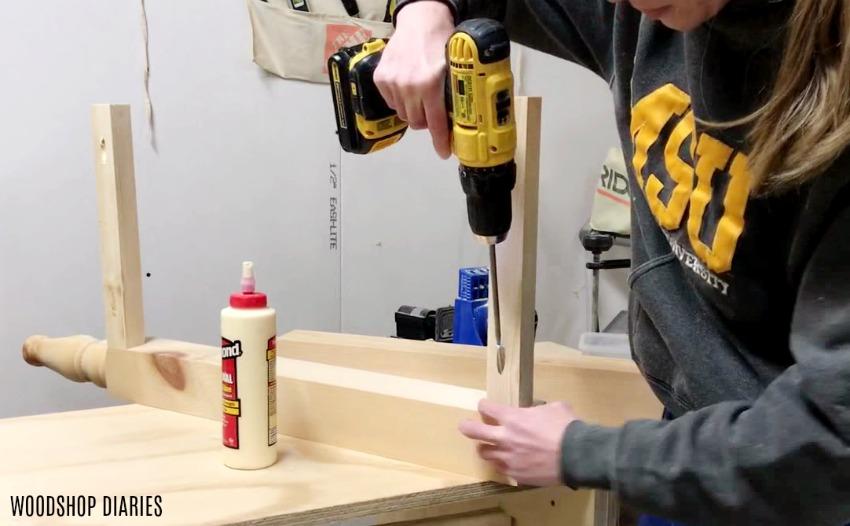 Assemble DIY Dresser side panel with wood glue and pocket hole screws