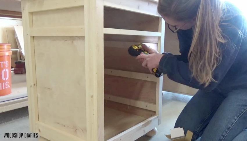 Diy Storage Desk Step 9 Add Spacers For Drawer Slides