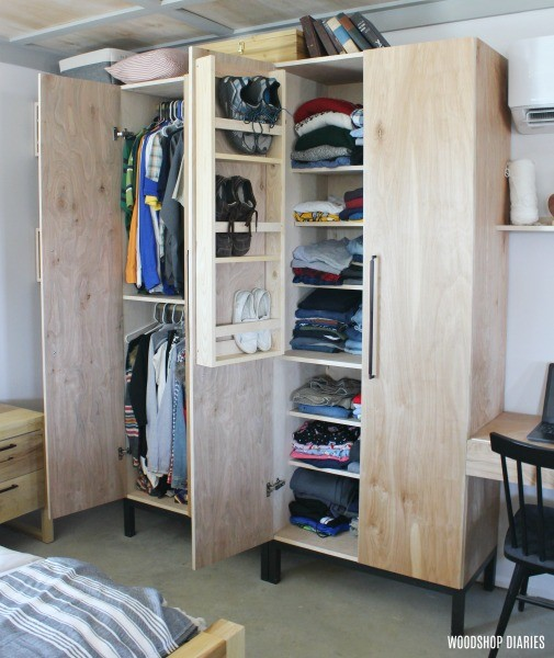 DIY Closet Cabinet Plans--With Clothes Rod, Adjustable Shelves, and a shoe rack built into the door