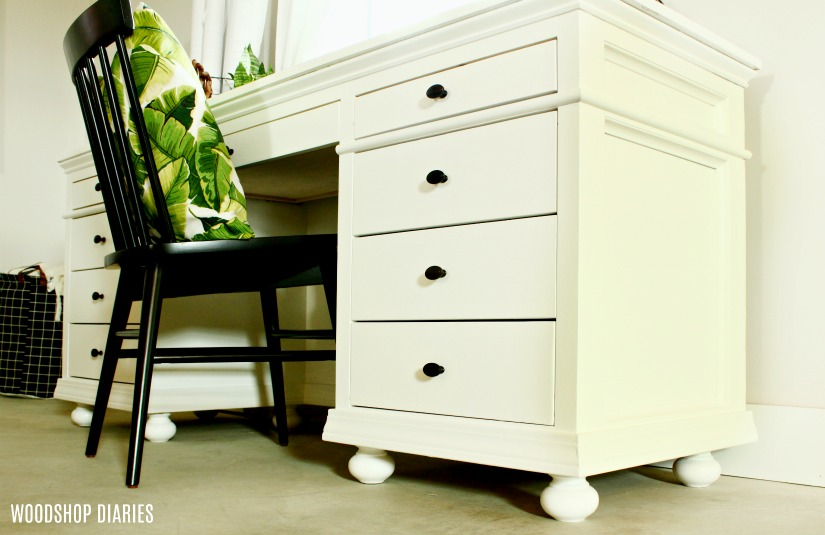 DIY Storage Desk with drawers and traditional trim