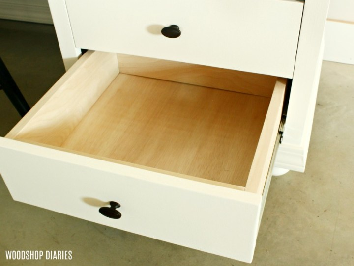 DIY Storage Desk Plywood Drawers with plywood edges covered