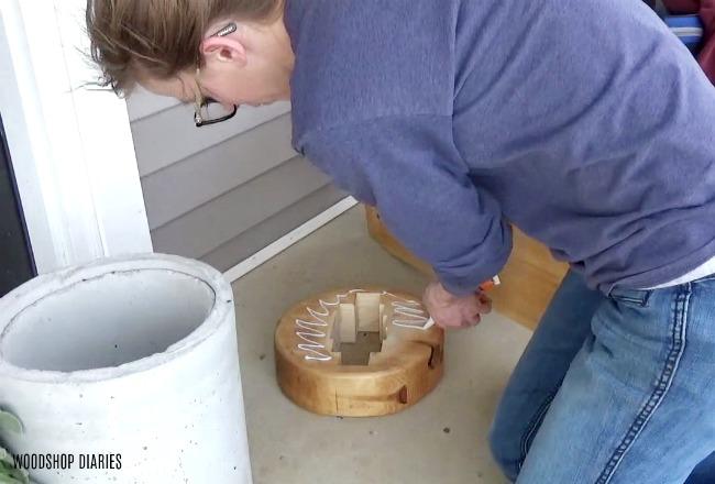 Attach DIY Concrete Planter to Wooden Base