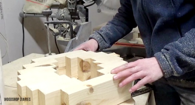 arrange boards for DIY concrete pot base