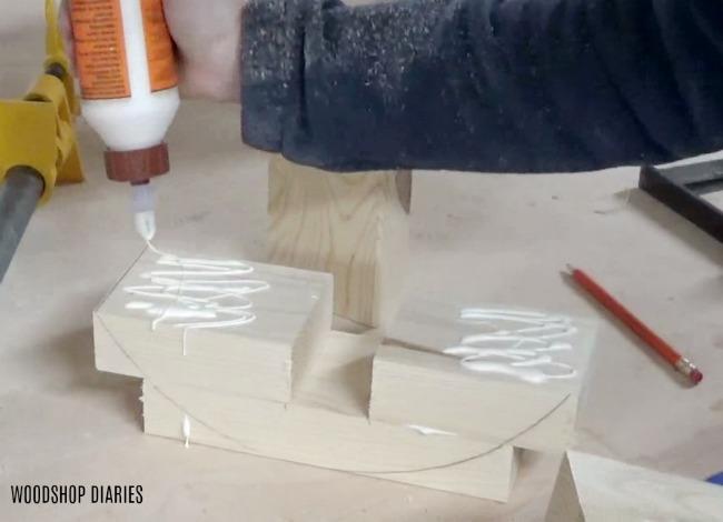 Gluing up wooden base for DIY concrete planter pot