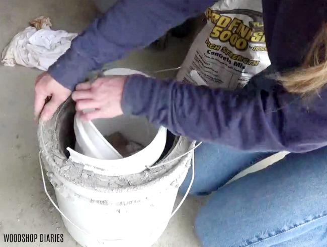 Cut out concrete mold for planter pot