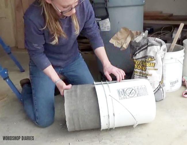 Cut DIY concrete planter out of mold bucket