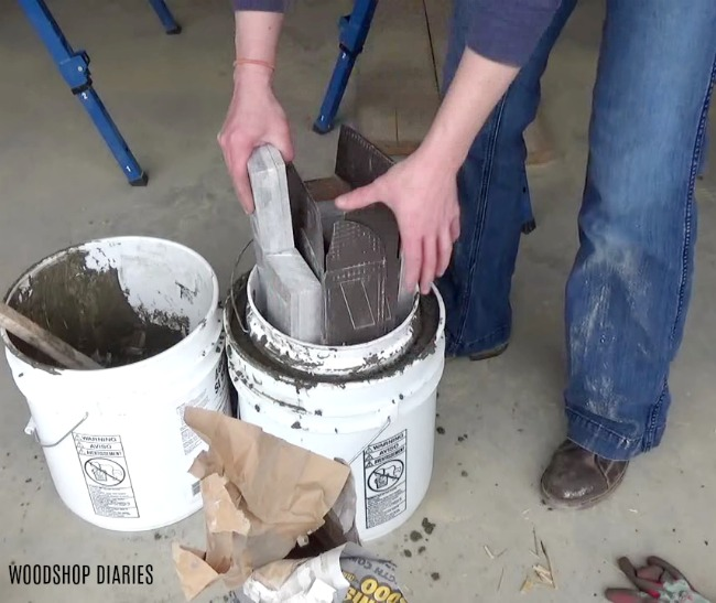 weigh down small bucket for DIY concrete planter pot