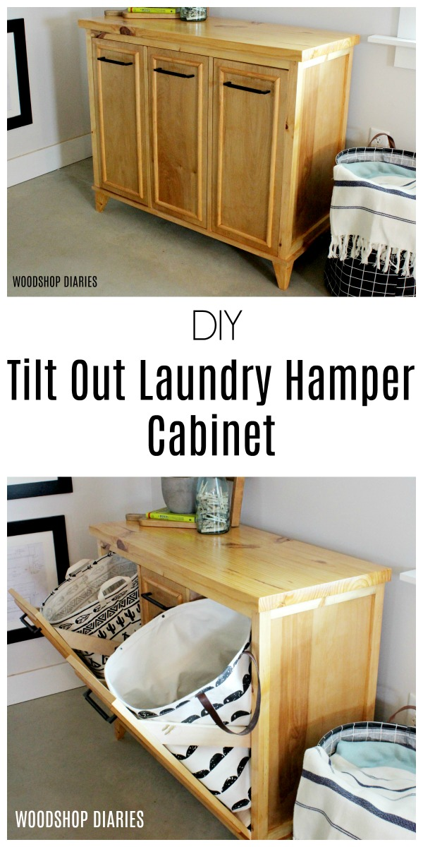 DIY Tilt Out Laundry Hamper Cabinet--Learn how to build your own laundry hamper storage cabinet with these free building plans and video tutorial