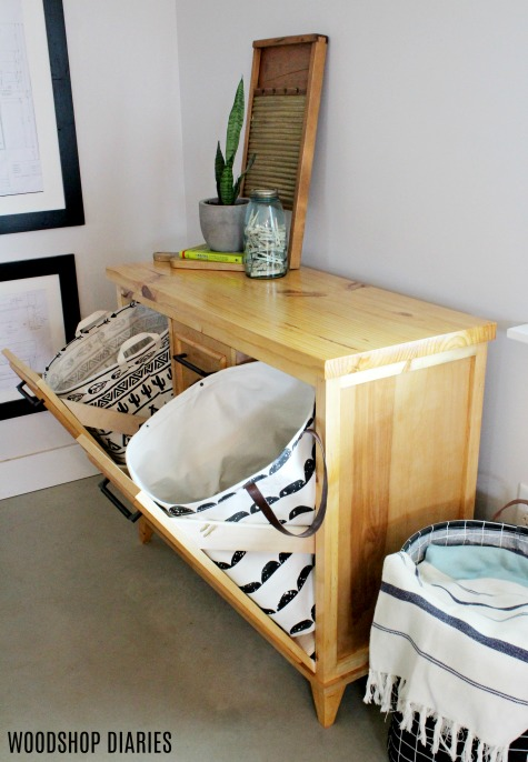 Diy Tilt Out Laundry Hamper Cabinet Free Building Plans And Video