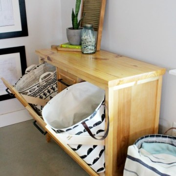 How to Build a DIY Tilt Out Laundry Hamper Cabinet with Hamper Baskets and Laundry Room Storage--Free Plans and Video Tutorial