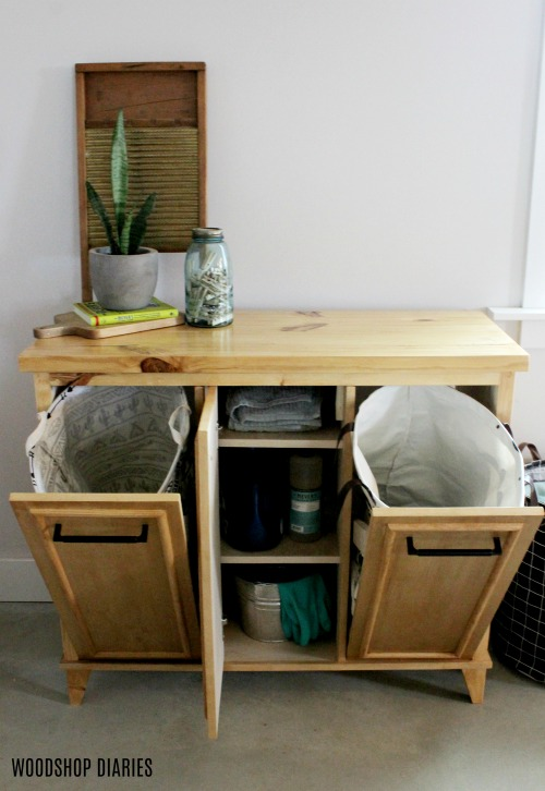 DIY Tilt Out Laundry Hamper Cabinet with Storage and Two Hamper Sections--Free Building Plans and Video Tutorial on Woodshop Diaries