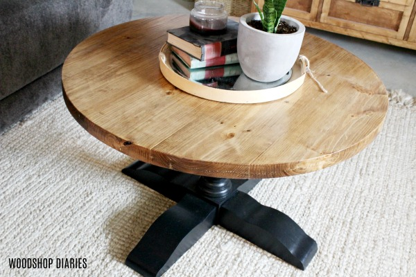 DIY Pedestal Coffee Table from construction lumber DIY furniture plans