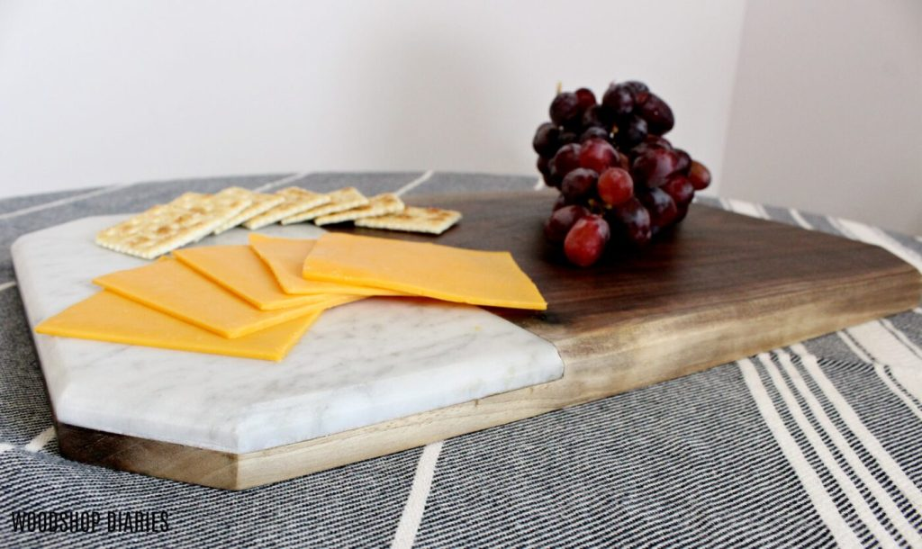 How to make a DIY wood and marble cheese board