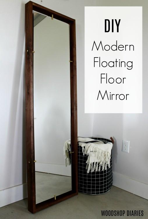 DIY Brass and Walnut Modern Floating Mirror