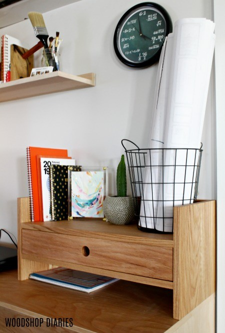 DIY Desk Organizer With Small Drawer and storage Cubby