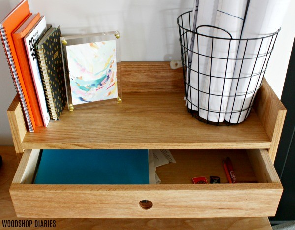 DIY Desk Organizer with Drawer Open