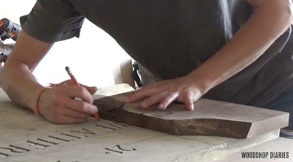 Measure and mark where to cut marble