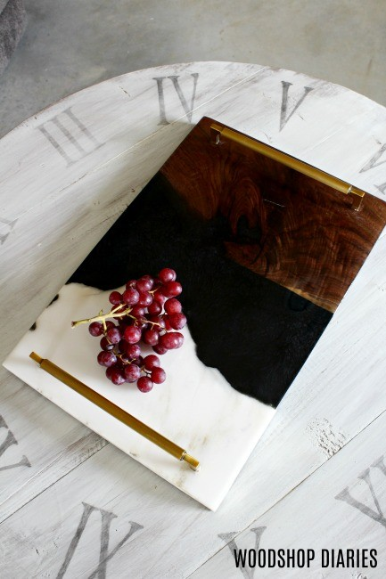 Overhead view of DIY Resin Serving Tray
