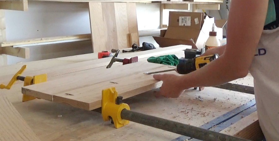 Clamping and Gluing Up Panels to make DIY Desk Organizer