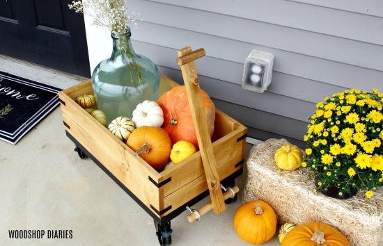 Overhead view of DIY Wooden Wagon with pumpkins