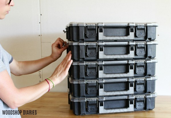 Interlocking storage containers for working on the go