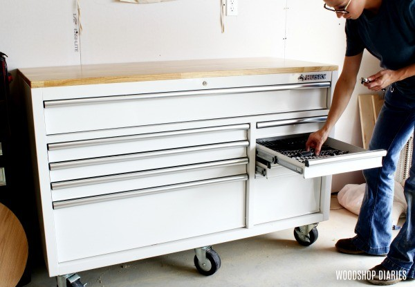 Workshop Organization using mobile storage carts
