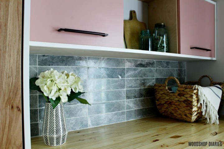 Tundra Grey tile installed as backsplash in laundry nook