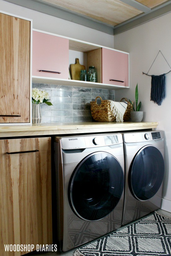Laundry room with DIY backsplash tile