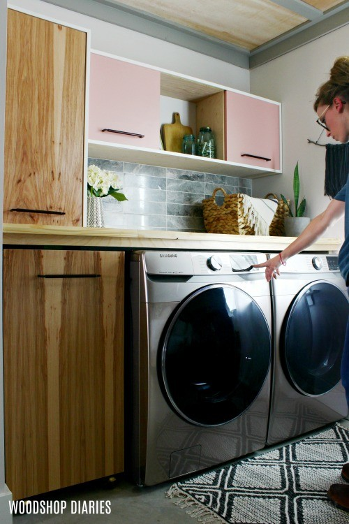 Interacting with new washer and dryer in refreshed laundry space