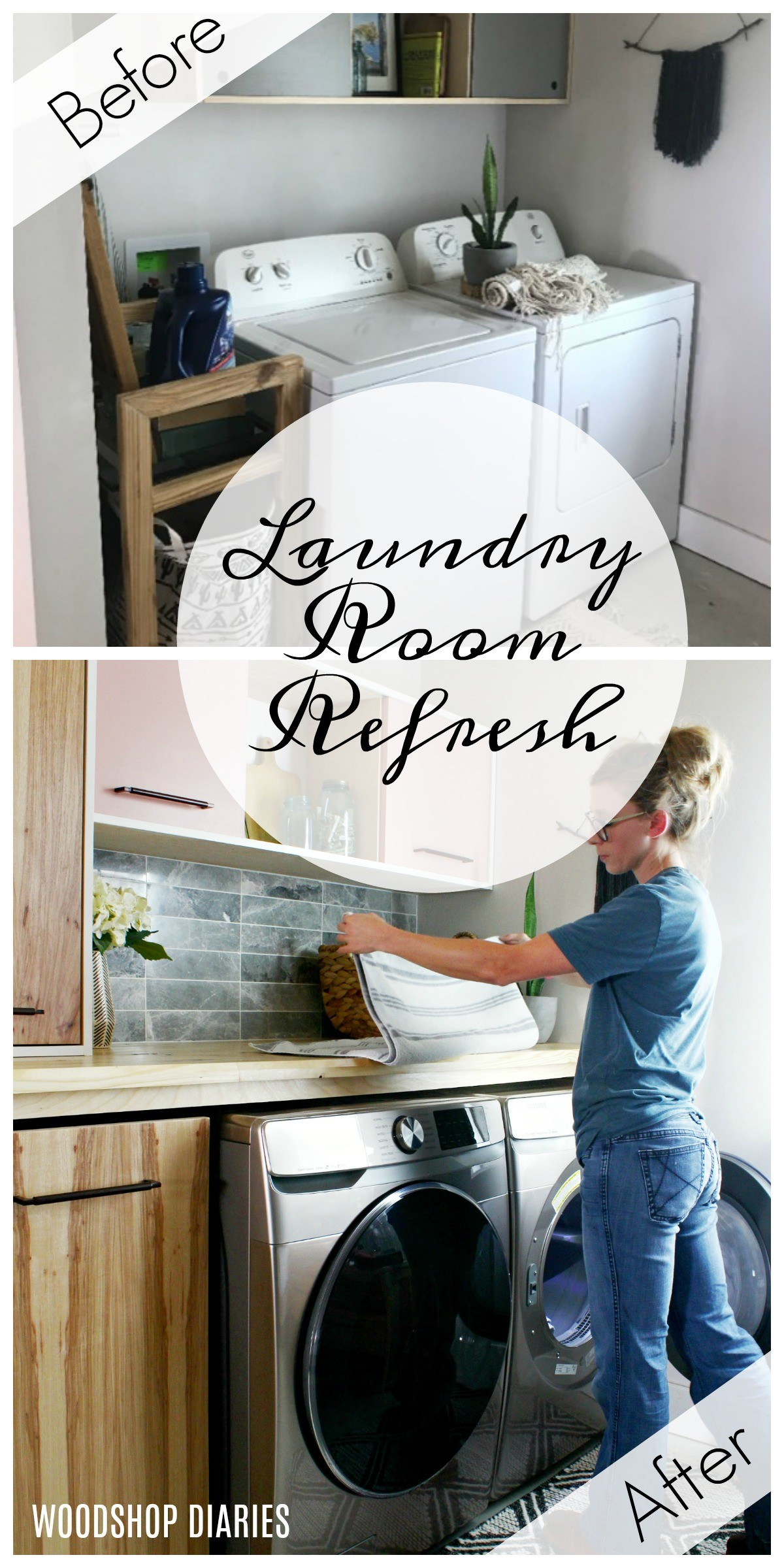 Laundry Room Refresh Transformation Before and After