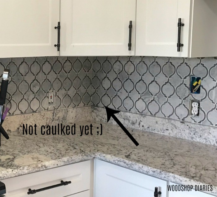 install clean pattern in corner of backsplash wall