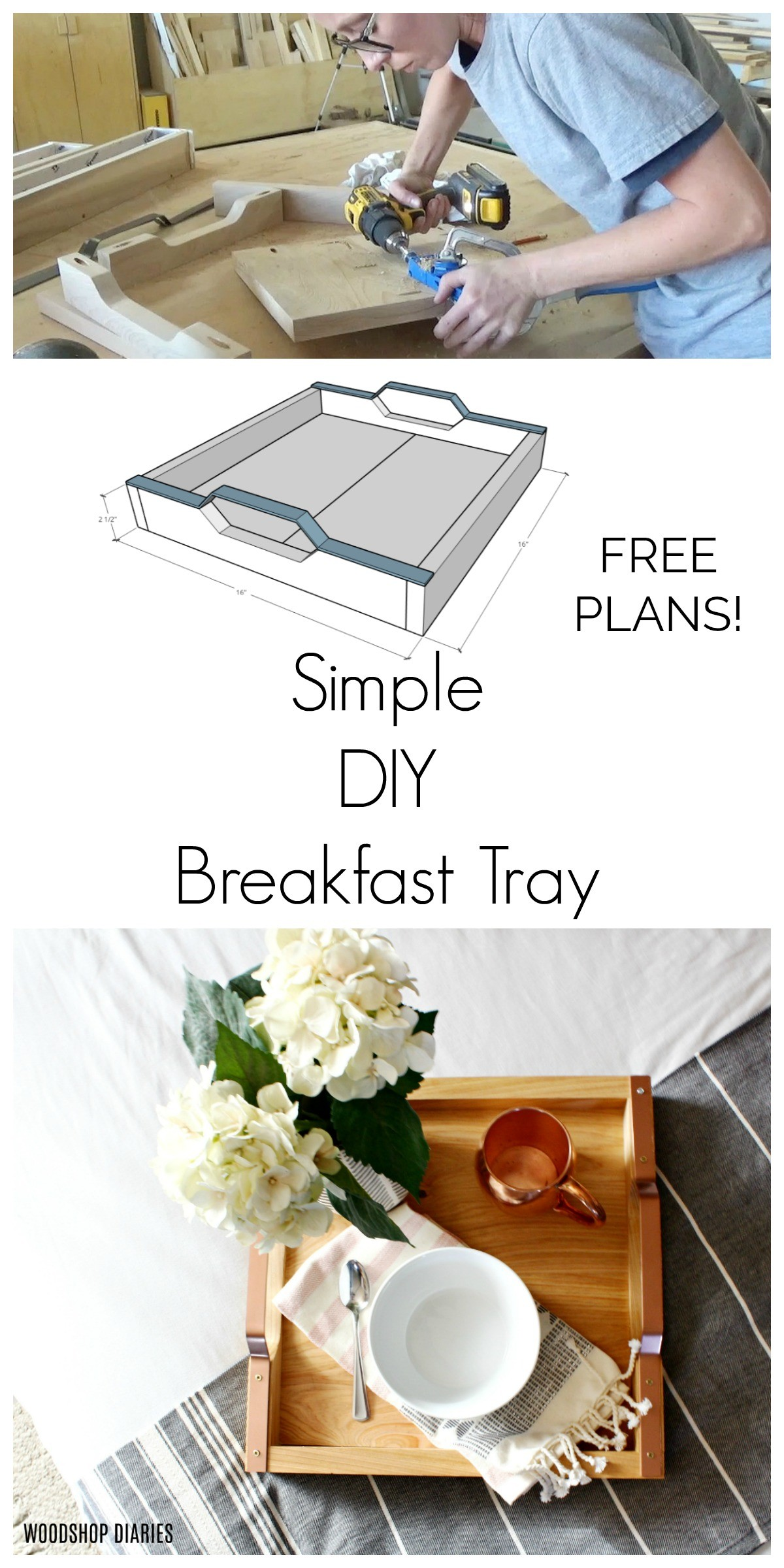 Overhead view of gorgeous square DIY breakfast tray with rose gold handles