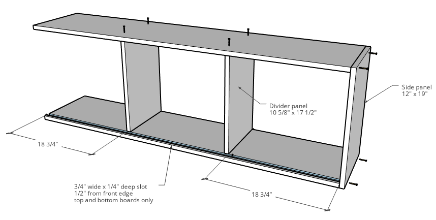 Diagram of sliding door laundry room cabinet assembly