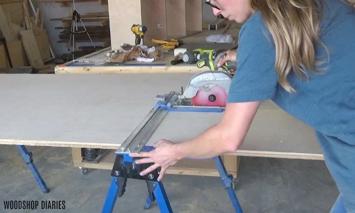 Trim down plywood for laundry room storage cabinet