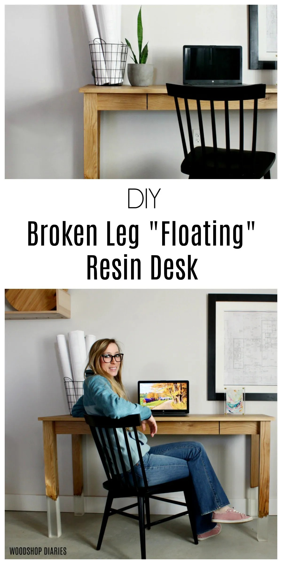 Floating Broken Leg DIY Resin Desk--A Unique Design, Free Plans, and Video Tutorial
