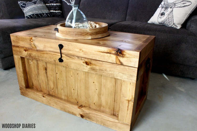 DIY hope chest as a storage coffee table
