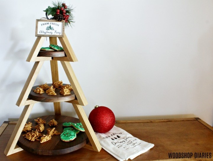 3 tier Christmas tree shaped candy stand--one of 10+ easy Christmas DIYs