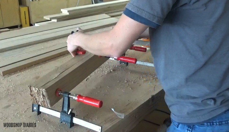 Glue up broken legs for DIY resin desk