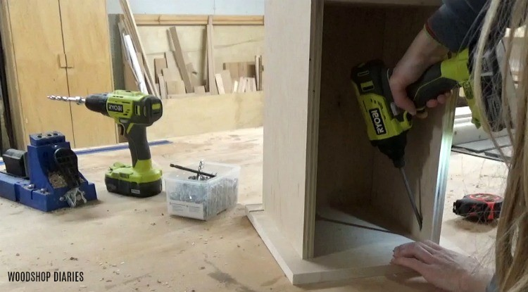 Attaching drawer fronts of DIY mobile lathe stand drawer boxes