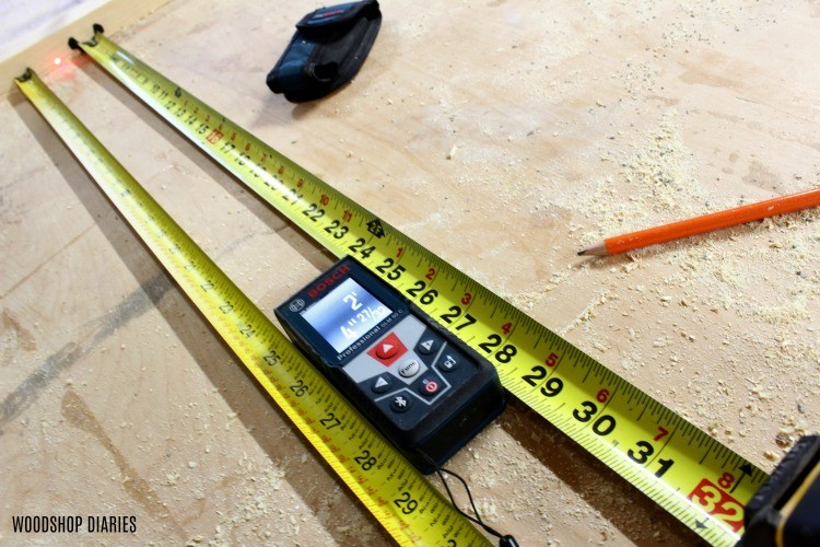 Bosch Blaze Laser Distance Measurer compare side by side with tape measure