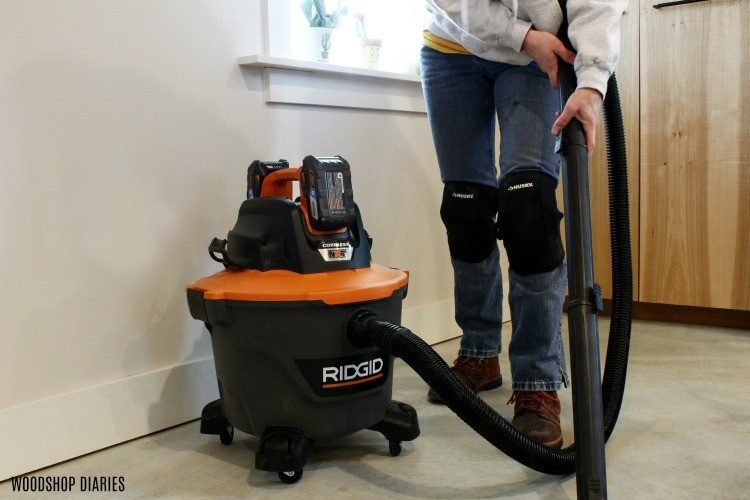 Using ridgid cordless shop vacuum to clean floor before installing vinyl plank