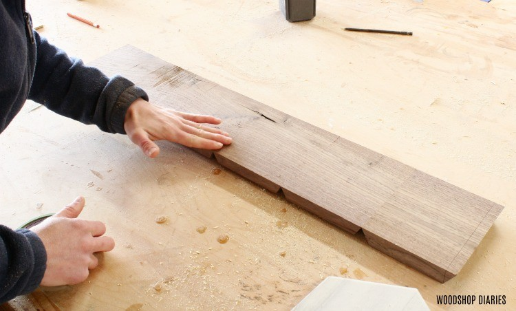 lay out continuous grain boards to prepare for glue up