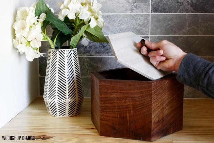 Hexagon continuous grain keepsake box with tile lid