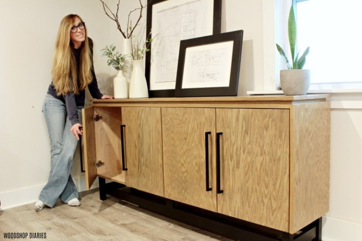 Red oak plywood modern console cabinet with red oak edge banding