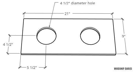 diagram of where to cut holes for dog bowls in elevated food bowl stand