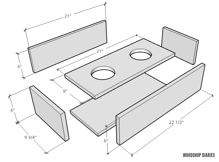 exploded diagram of elevated food bowl stand