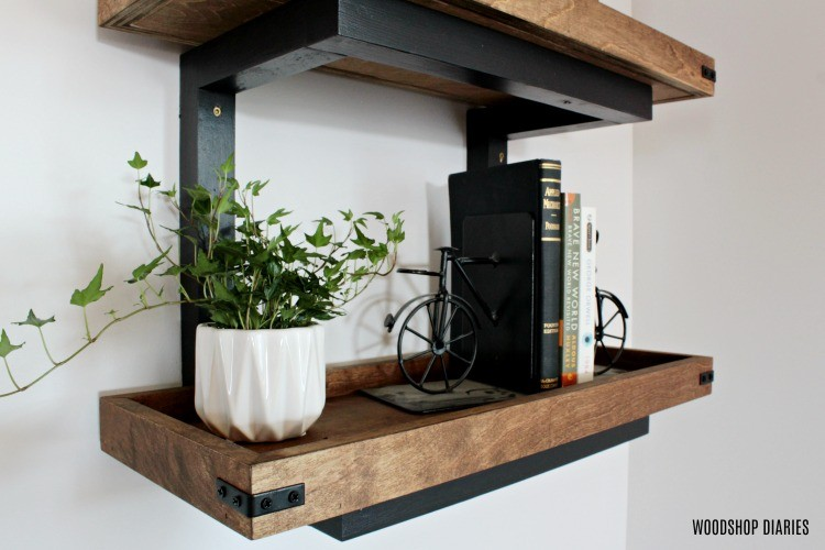 Close up of industrial details of DIY scrap wood wall shelf